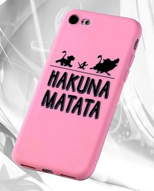 Coque rose hakuna matata roi lion M2 iPhone img2